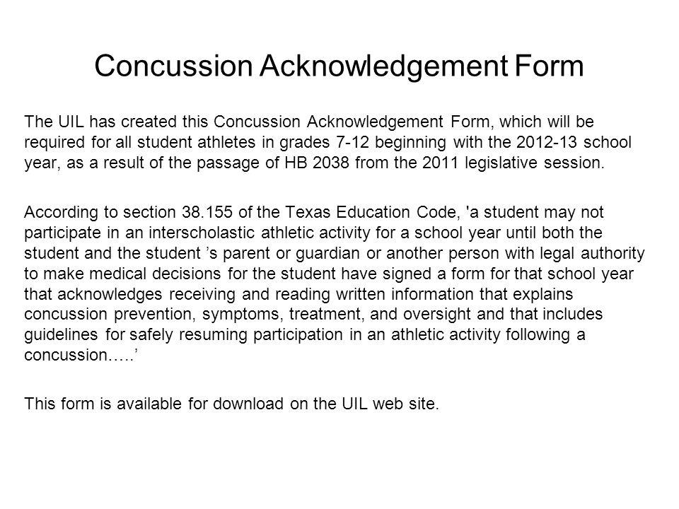 Concussion Acknowledgement Form
