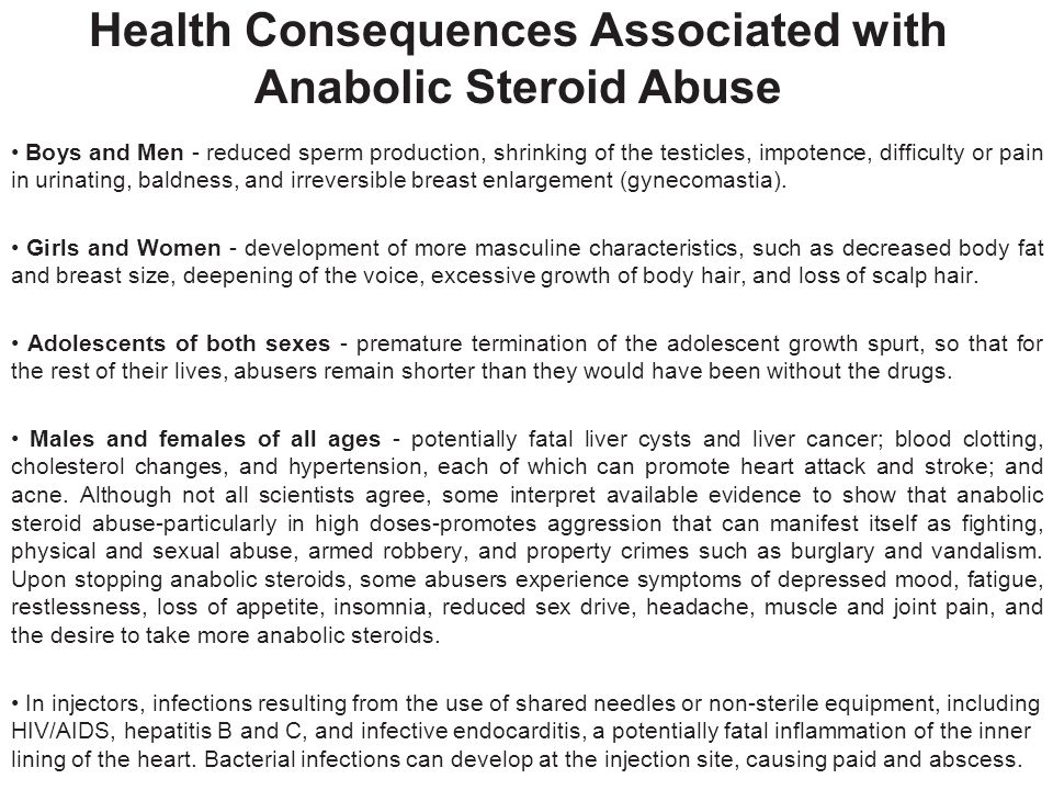 Health Consequences Associated with Anabolic Steroid Abuse