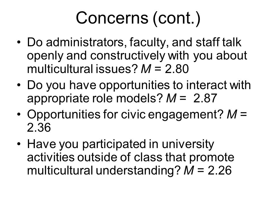 Concerns (cont.) Do administrators, faculty, and staff talk openly and constructively with you about multicultural issues M = 2.80.