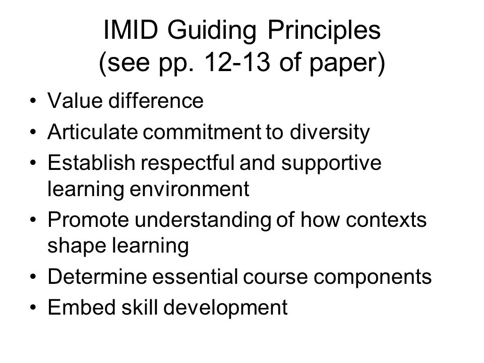 IMID Guiding Principles (see pp. 12-13 of paper)