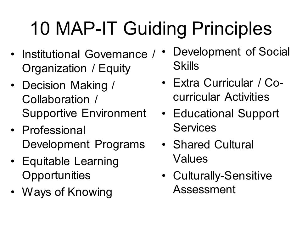 10 MAP-IT Guiding Principles