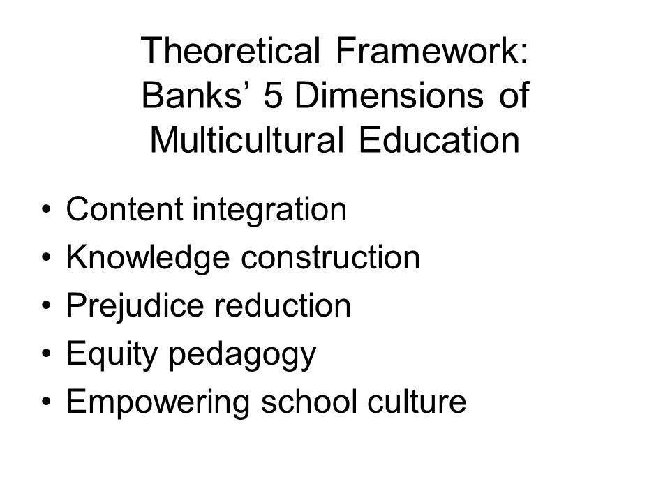 Theoretical Framework: Banks' 5 Dimensions of Multicultural Education