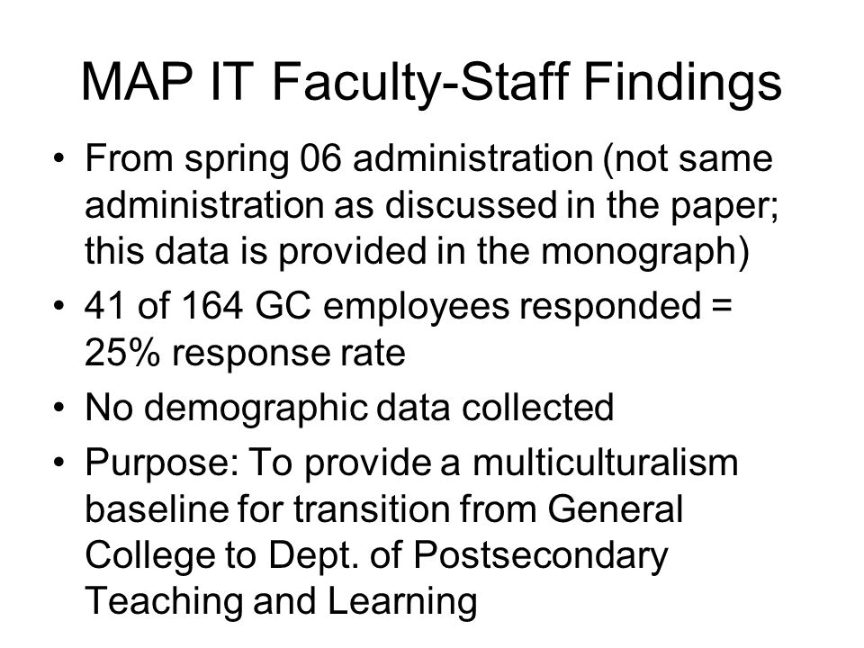 MAP IT Faculty-Staff Findings