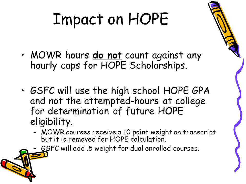 Impact on HOPE MOWR hours do not count against any hourly caps for HOPE Scholarships.