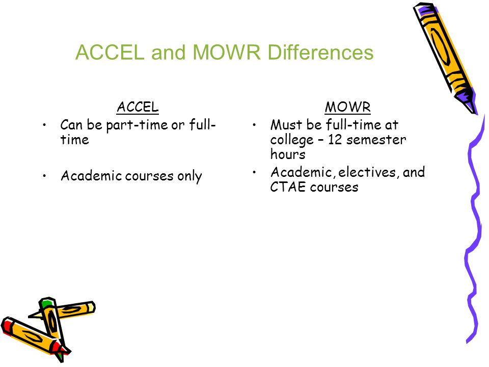 ACCEL and MOWR Differences