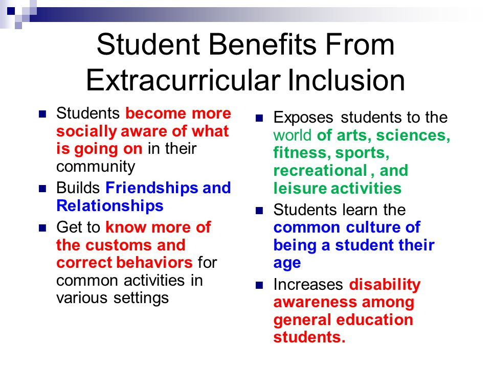 Student Benefits From Extracurricular Inclusion