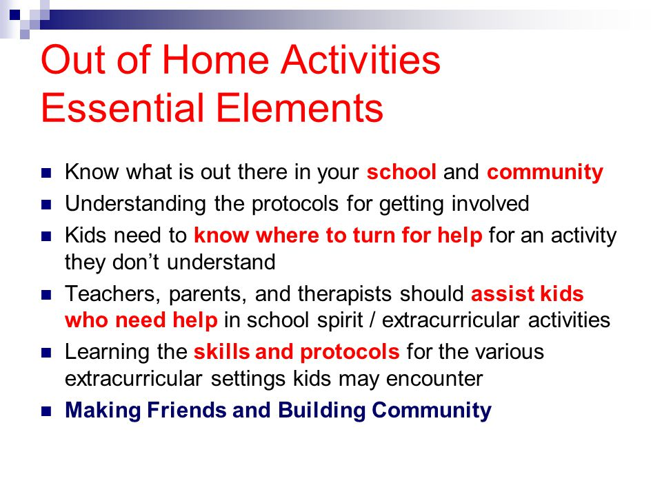 Out of Home Activities Essential Elements