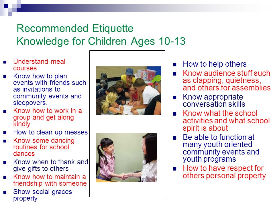 Recommended Etiquette Knowledge for Children Ages 10-13