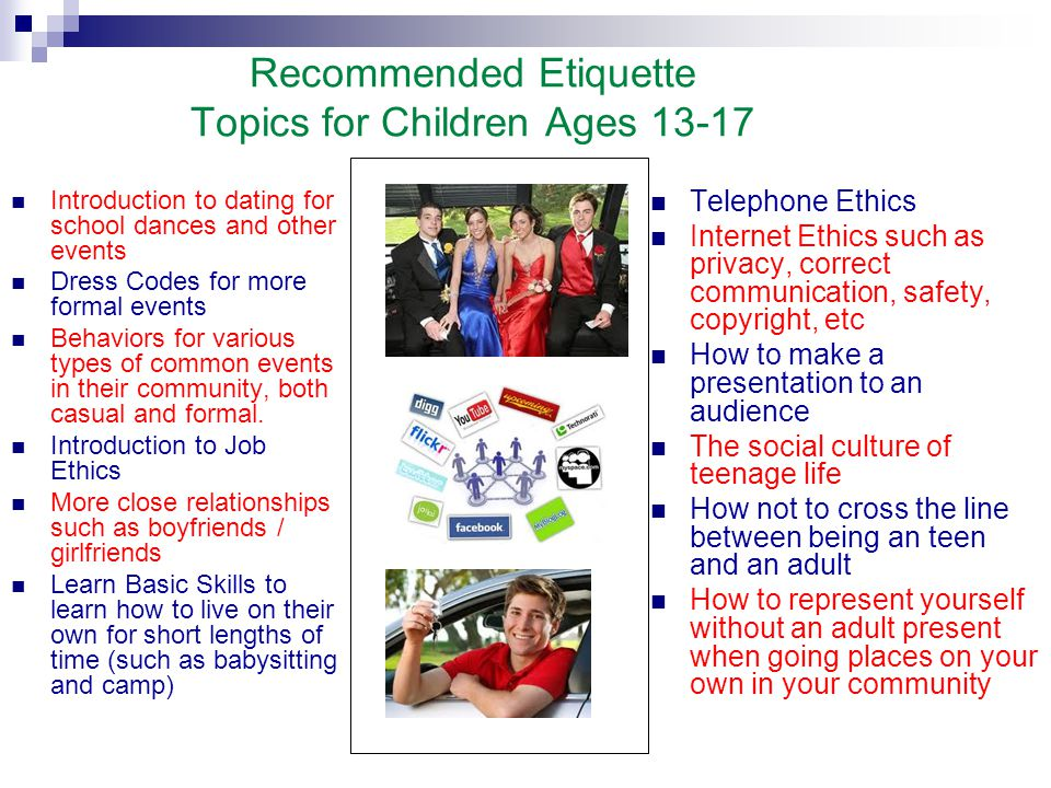 Recommended Etiquette Topics for Children Ages 13-17