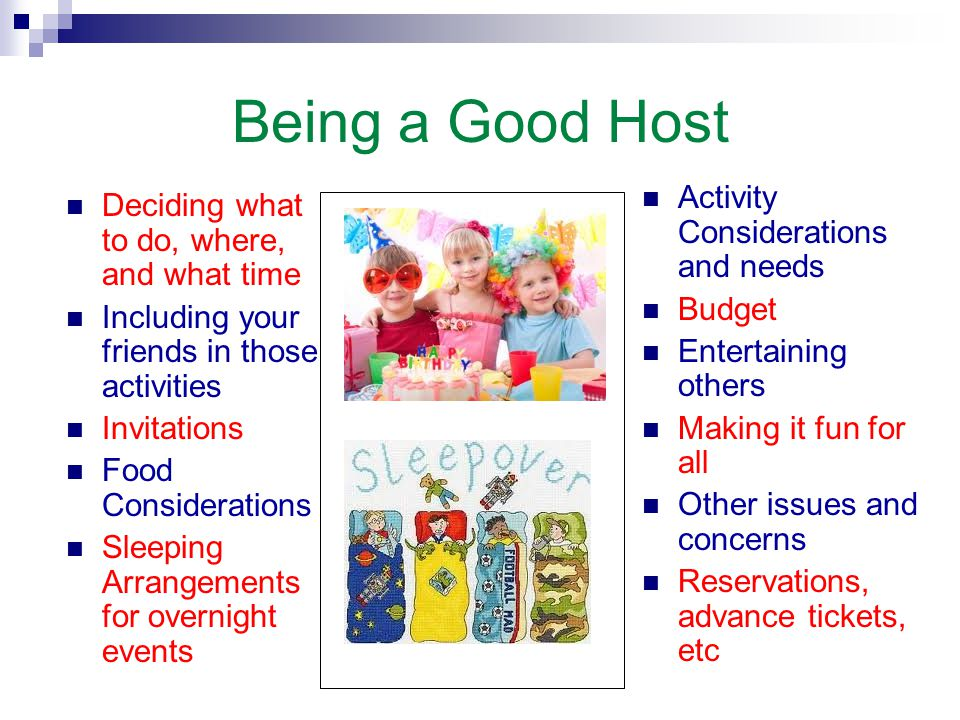 Being a Good Host Activity Considerations and needs