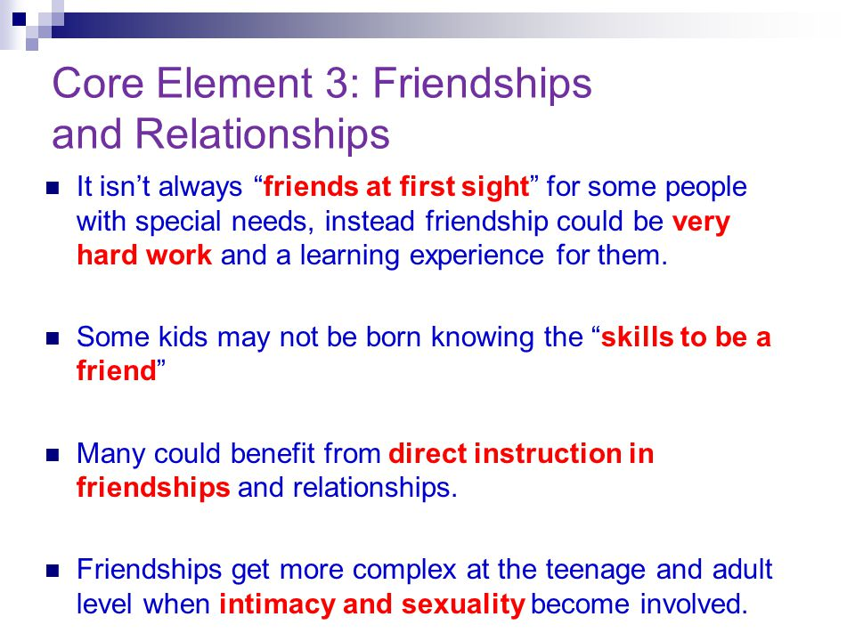 Core Element 3: Friendships and Relationships