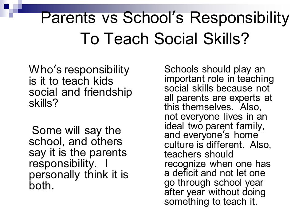 Parents vs School's Responsibility To Teach Social Skills