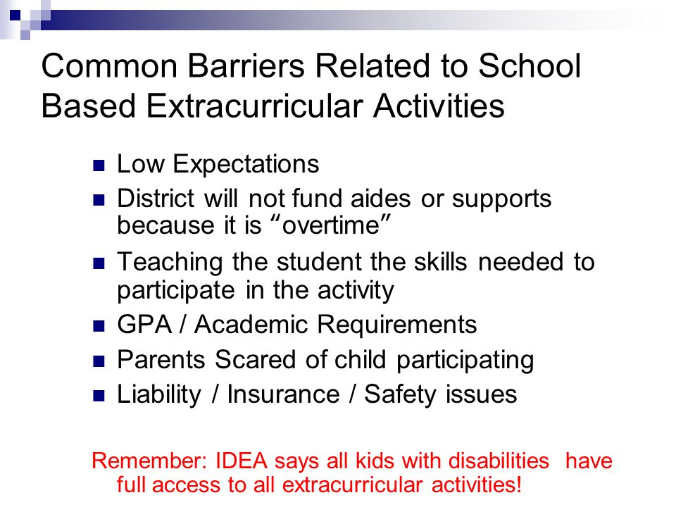 Common Barriers Related to School Based Extracurricular Activities