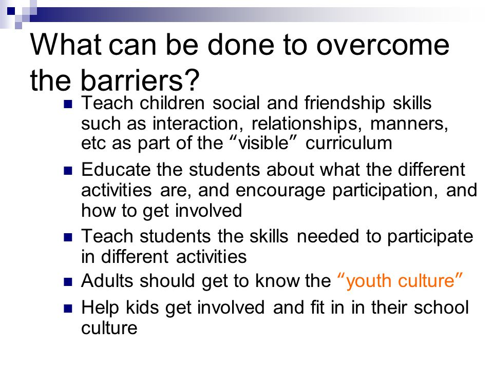 What can be done to overcome the barriers