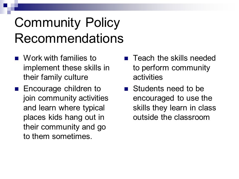Community Policy Recommendations