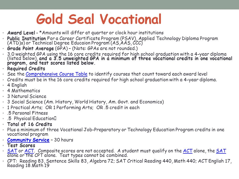 Gold Seal Vocational Award Level - *Amounts will differ at quarter or clock hour institutions.