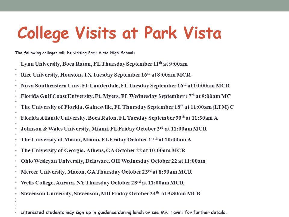 College Visits at Park Vista