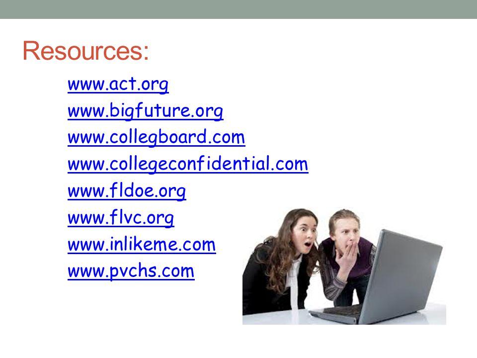 Resources: www.act.org www.bigfuture.org www.collegboard.com