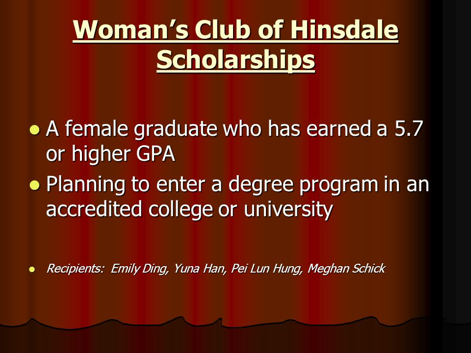 Woman's Club of Hinsdale Scholarships