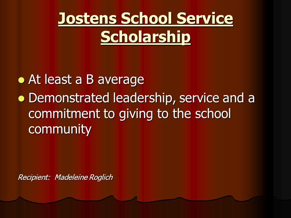 Jostens School Service Scholarship
