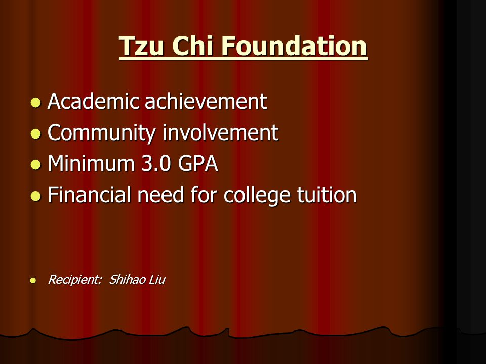 Tzu Chi Foundation Academic achievement Community involvement