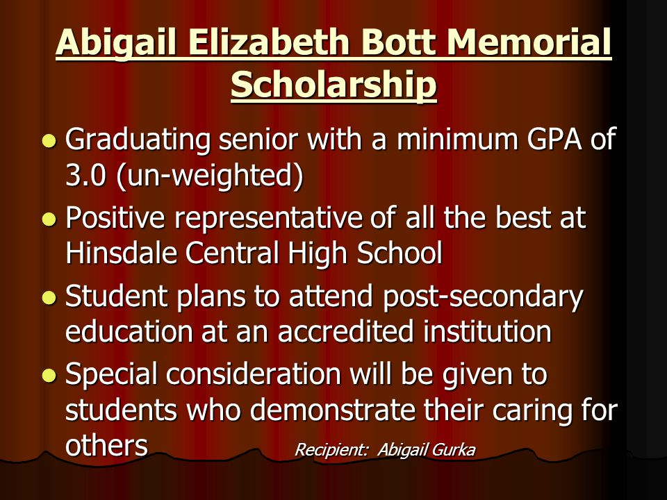 Abigail Elizabeth Bott Memorial Scholarship
