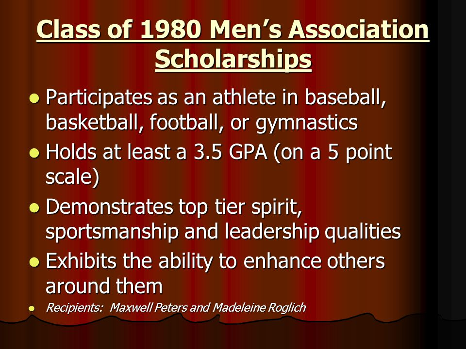 Class of 1980 Men's Association Scholarships