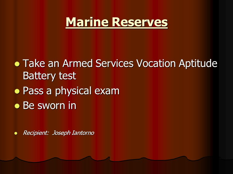 Marine Reserves Take an Armed Services Vocation Aptitude Battery test