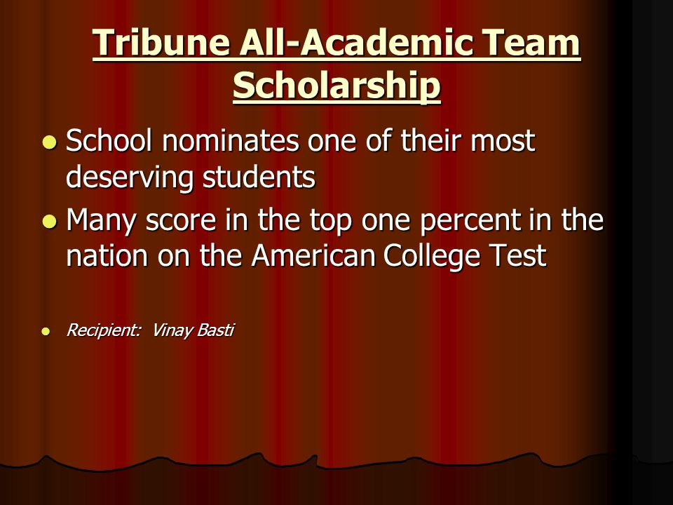 Tribune All-Academic Team Scholarship