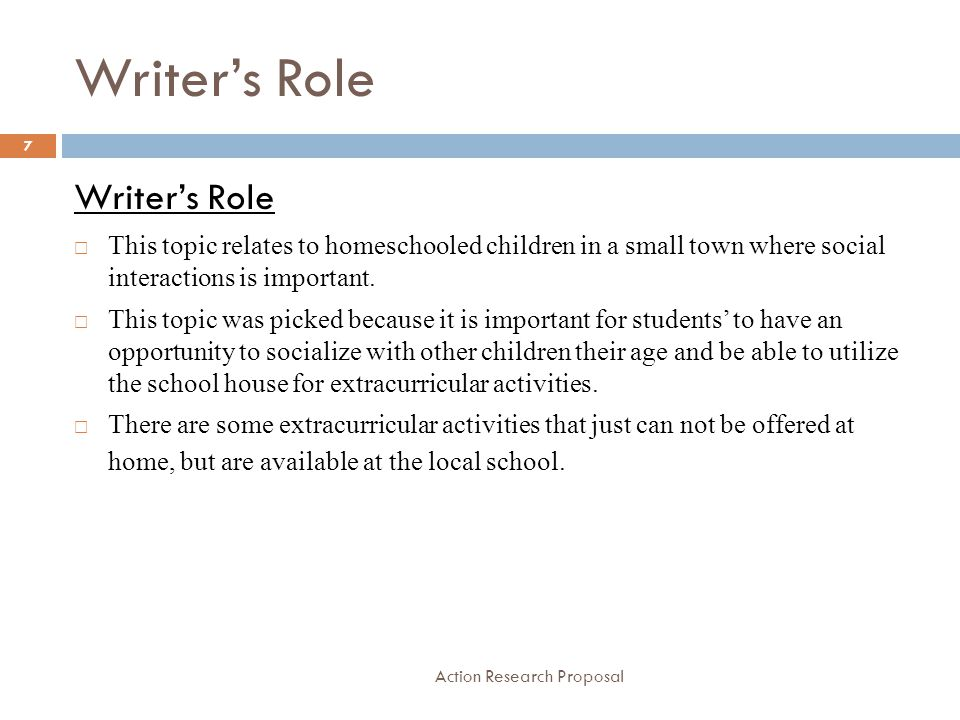 Writer's Role Writer's Role