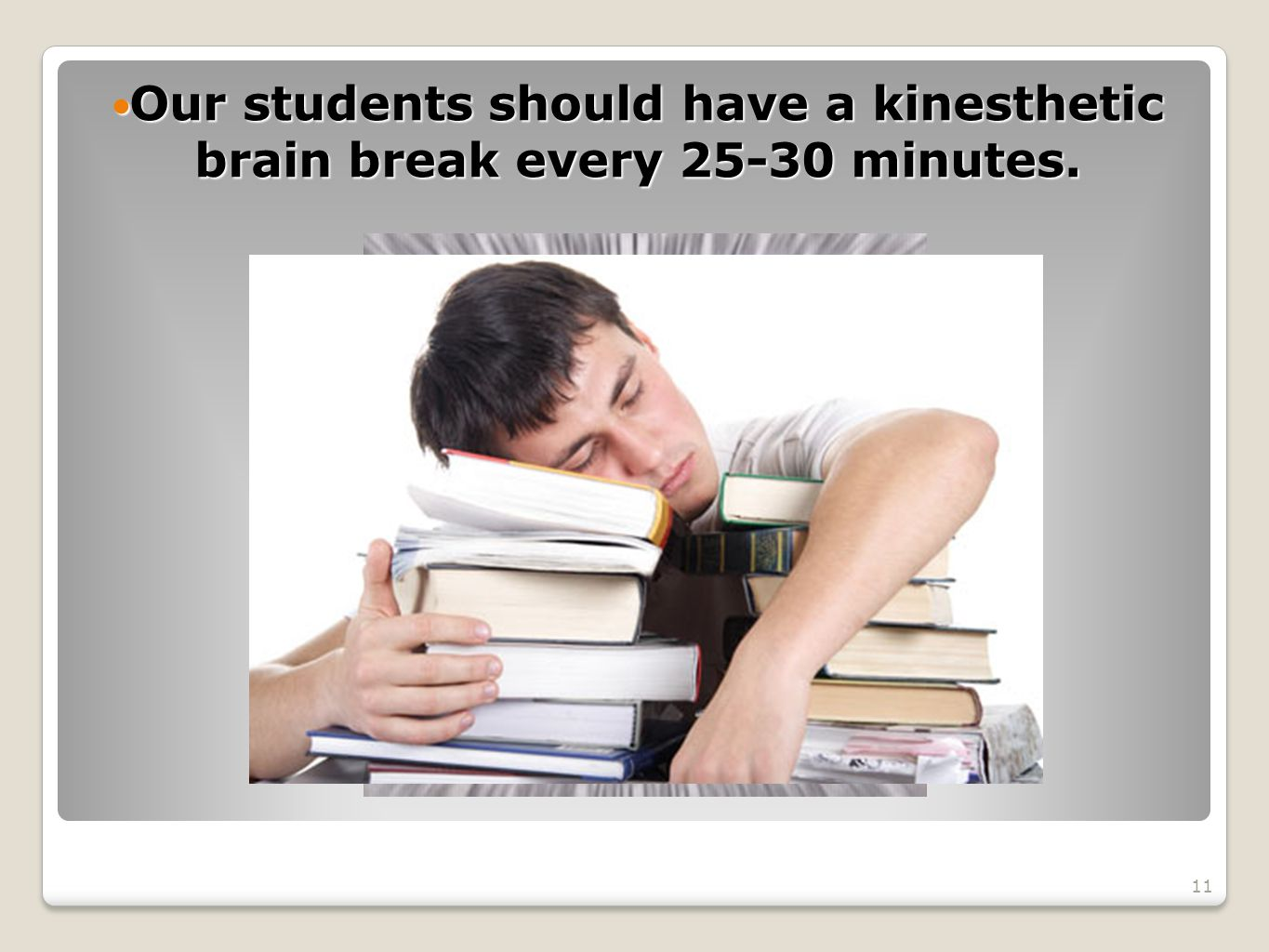 Our students should have a kinesthetic brain break every 25-30 minutes.