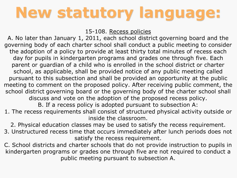 New statutory language:
