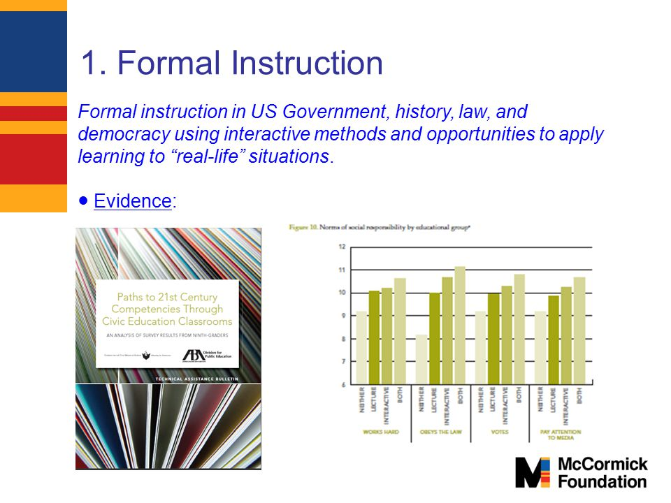 1. Formal Instruction Formal instruction in US Government, history, law, and.