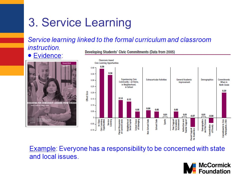 3. Service Learning Service learning linked to the formal curriculum and classroom instruction. ● Evidence: