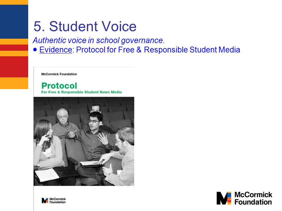 5. Student Voice Authentic voice in school governance.