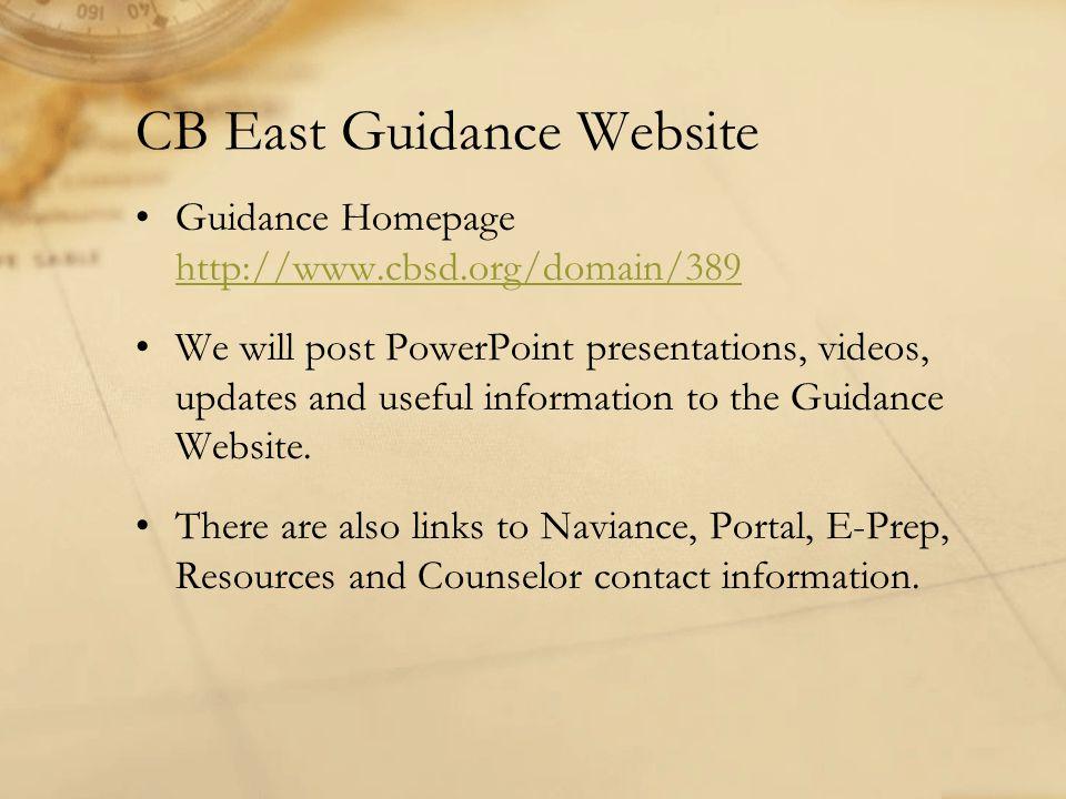 CB East Guidance Website