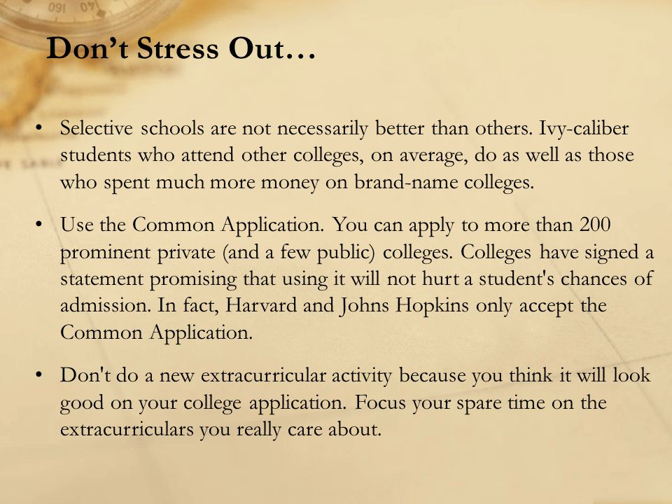 Don't Stress Out…
