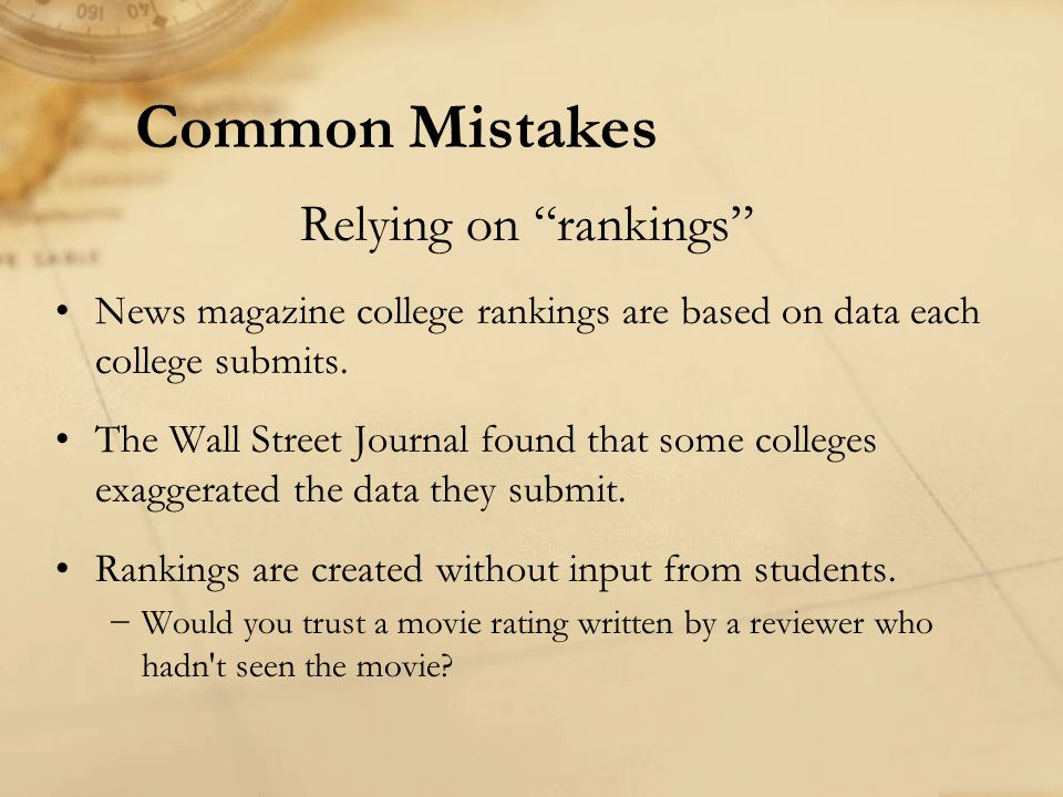 Common Mistakes Relying on rankings