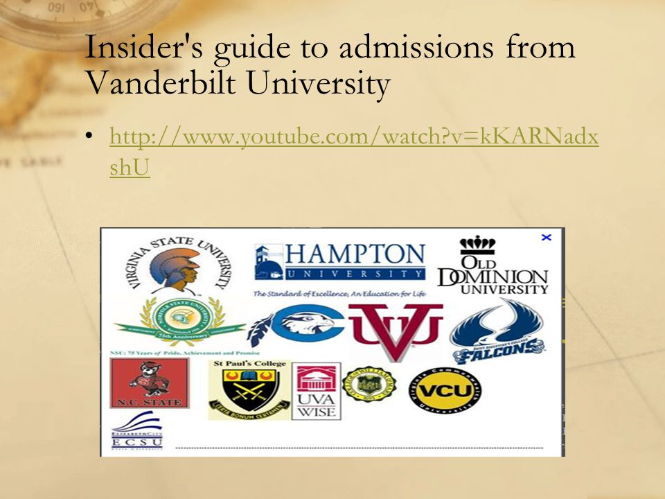 Insider s guide to admissions from Vanderbilt University