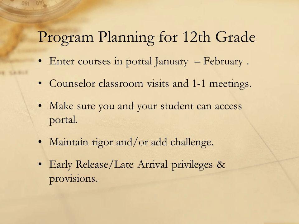 Program Planning for 12th Grade