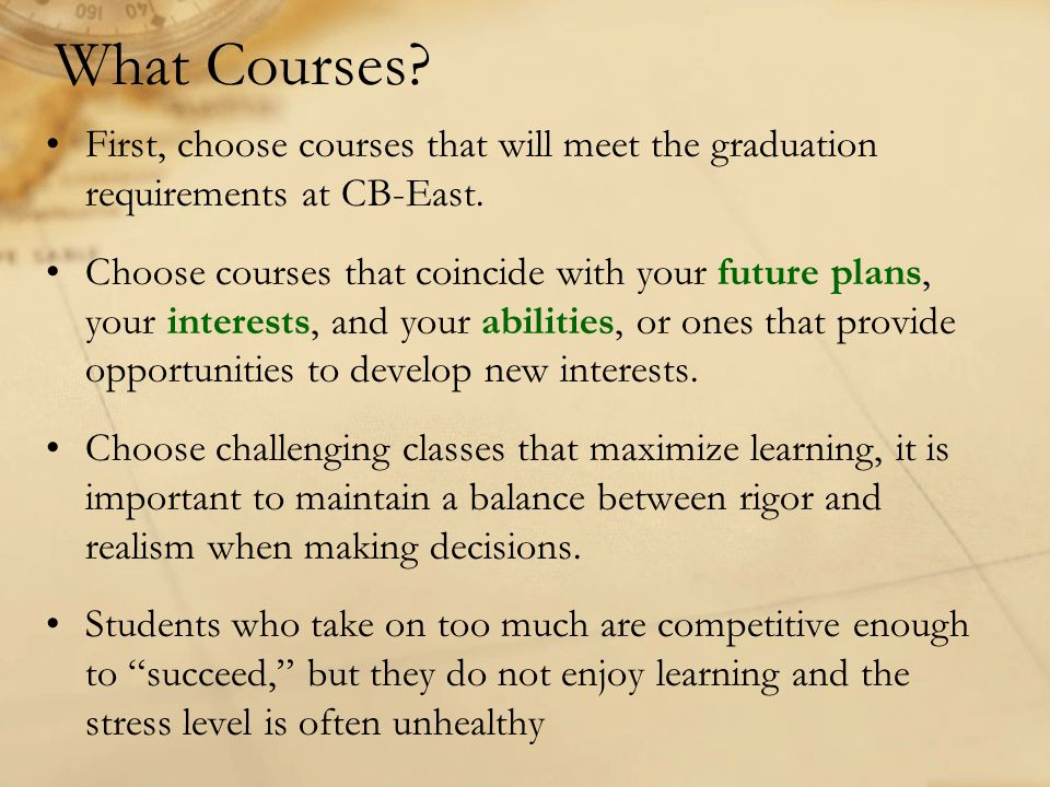 What Courses First, choose courses that will meet the graduation requirements at CB-East.