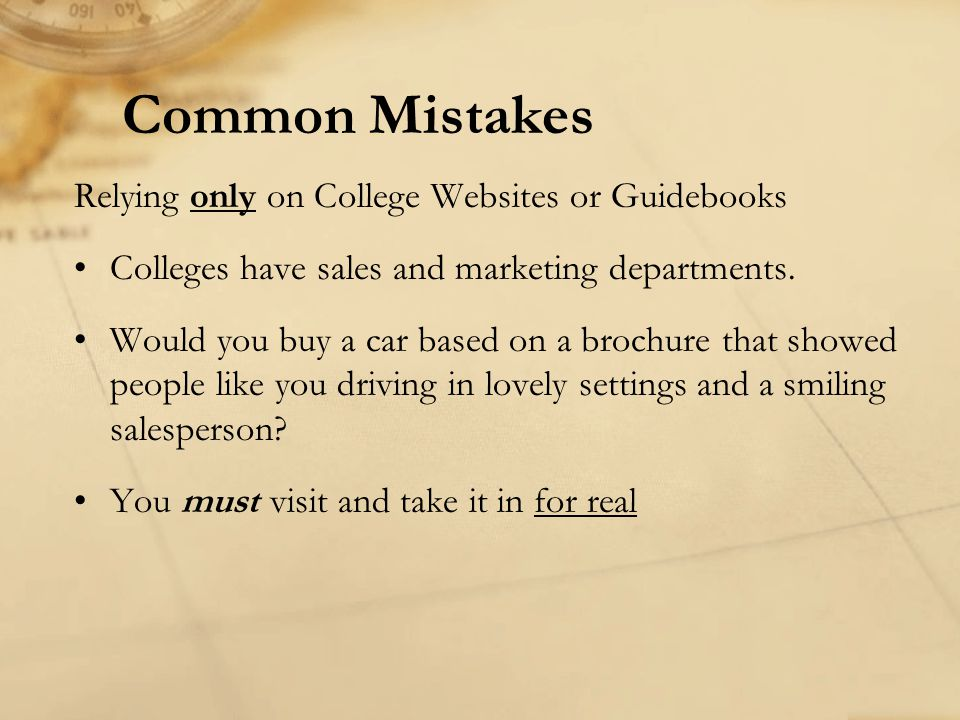 Common Mistakes Relying only on College Websites or Guidebooks