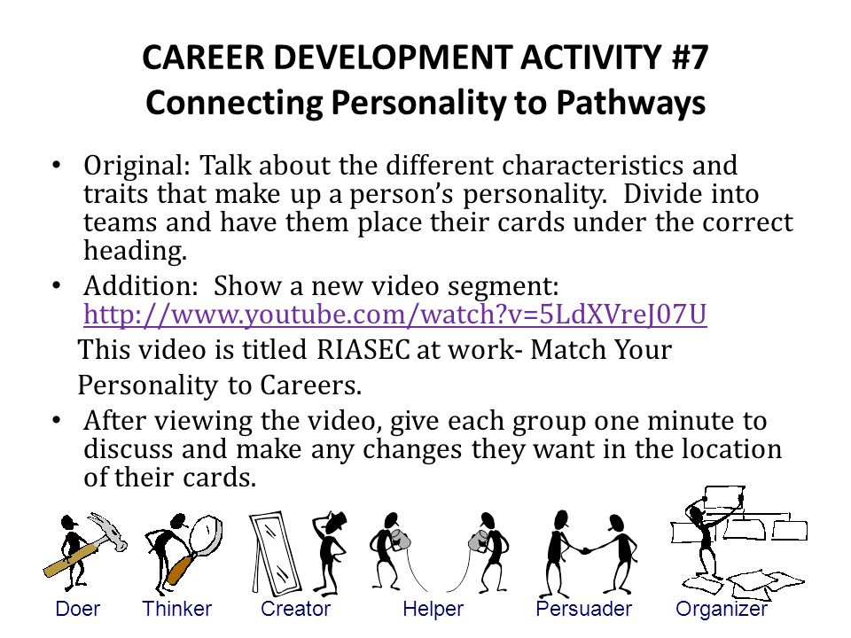CAREER DEVELOPMENT ACTIVITY #7 Connecting Personality to Pathways