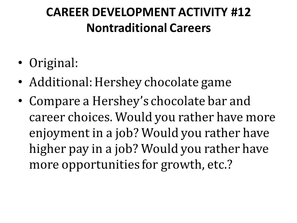 CAREER DEVELOPMENT ACTIVITY #12 Nontraditional Careers