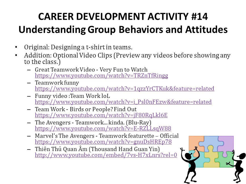 CAREER DEVELOPMENT ACTIVITY #14 Understanding Group Behaviors and Attitudes