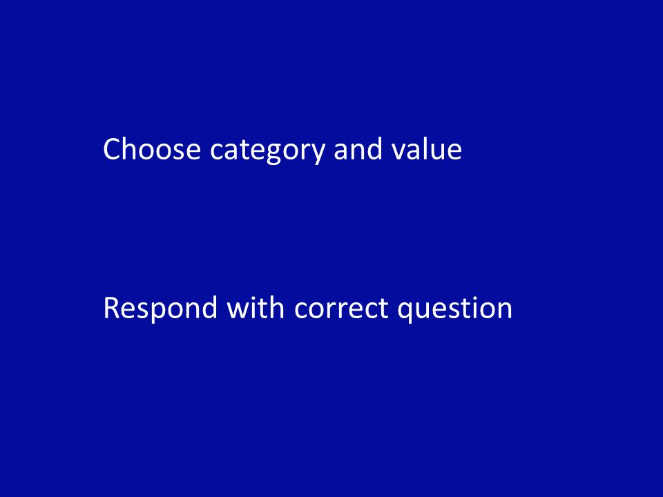 Choose category and value