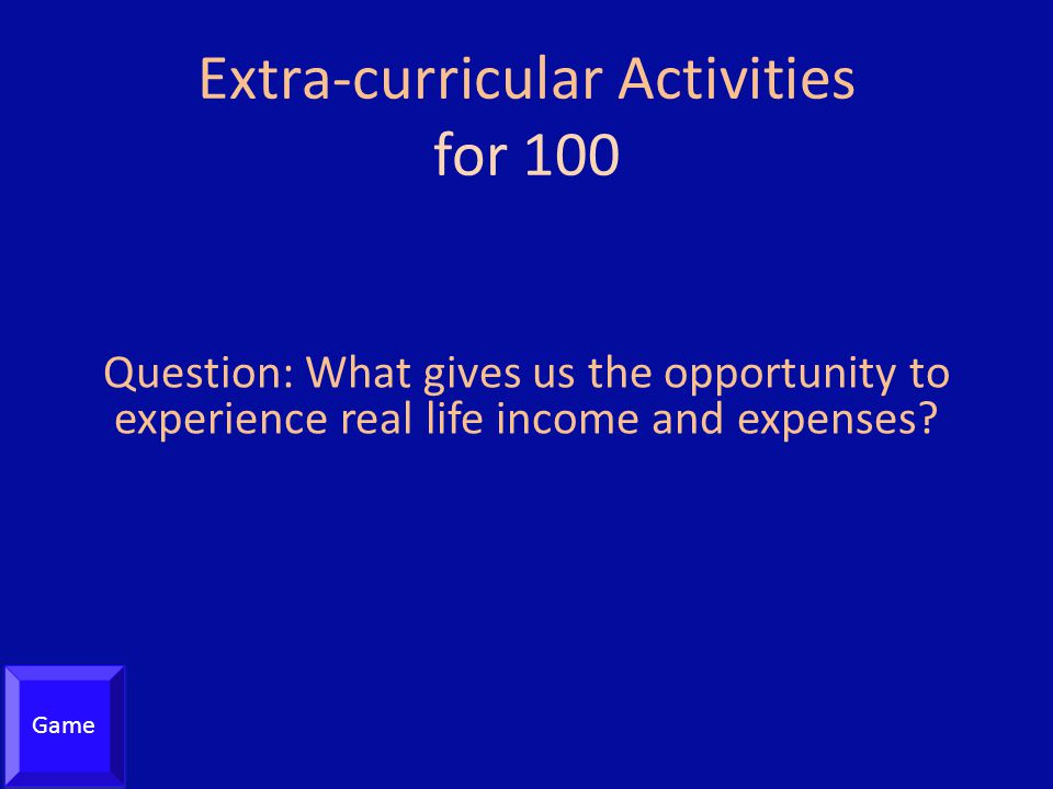 Extra-curricular Activities for 100