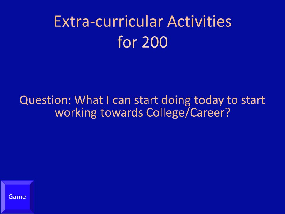 Extra-curricular Activities for 200