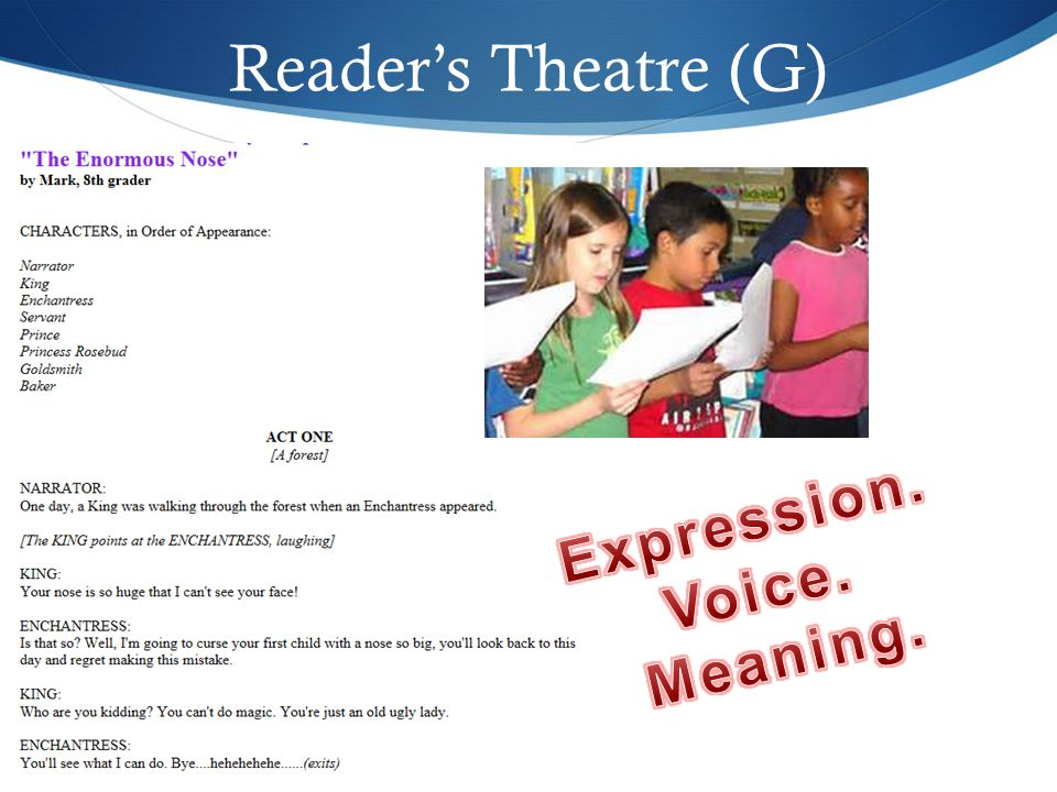 Reader's Theatre (G) Expression. Voice. Meaning.