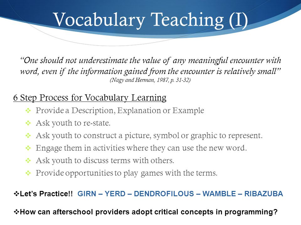 Vocabulary Teaching (I)